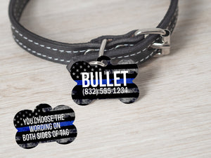 2 Sided TBL - Thin Blue Line Police Dog Tag