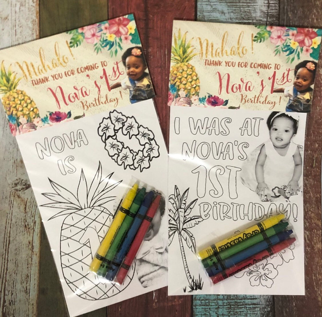 Hawaiian Theme OR Any Theme of YOUR child - Personalized Birthday Party Favors Set of 10 - - Endlessly Trendy Boutique