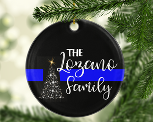 Personalized Thin Blue Line TBL Police - Shatterproof Acrylic Ornament  - - Endlessly Trendy Boutique