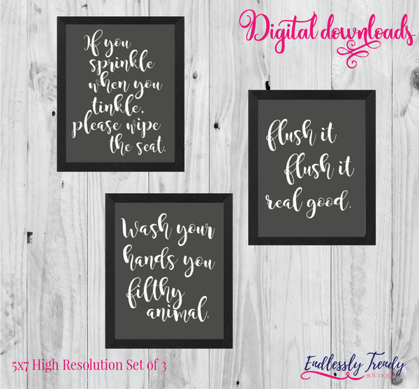"5"" x 7"" Funny Bathroom Sayings Set of 3 - Bathroom Humor Quote - Digital Download - Printable Digital File - Endlessly Trendy Boutique"