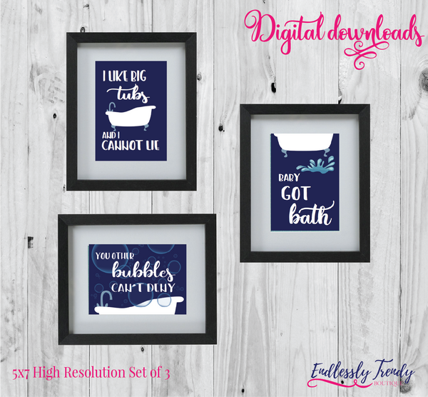 "5"" x 7"" Baby Got Bath Set of 3 - Bathroom Humor Quote - Digital Download - Printable Digital File - Endlessly Trendy Boutique"