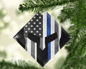 Thin Blue Line Warrior Police Ornament - Shatterproof Acrylic Ornament  - - Endlessly Trendy Boutique