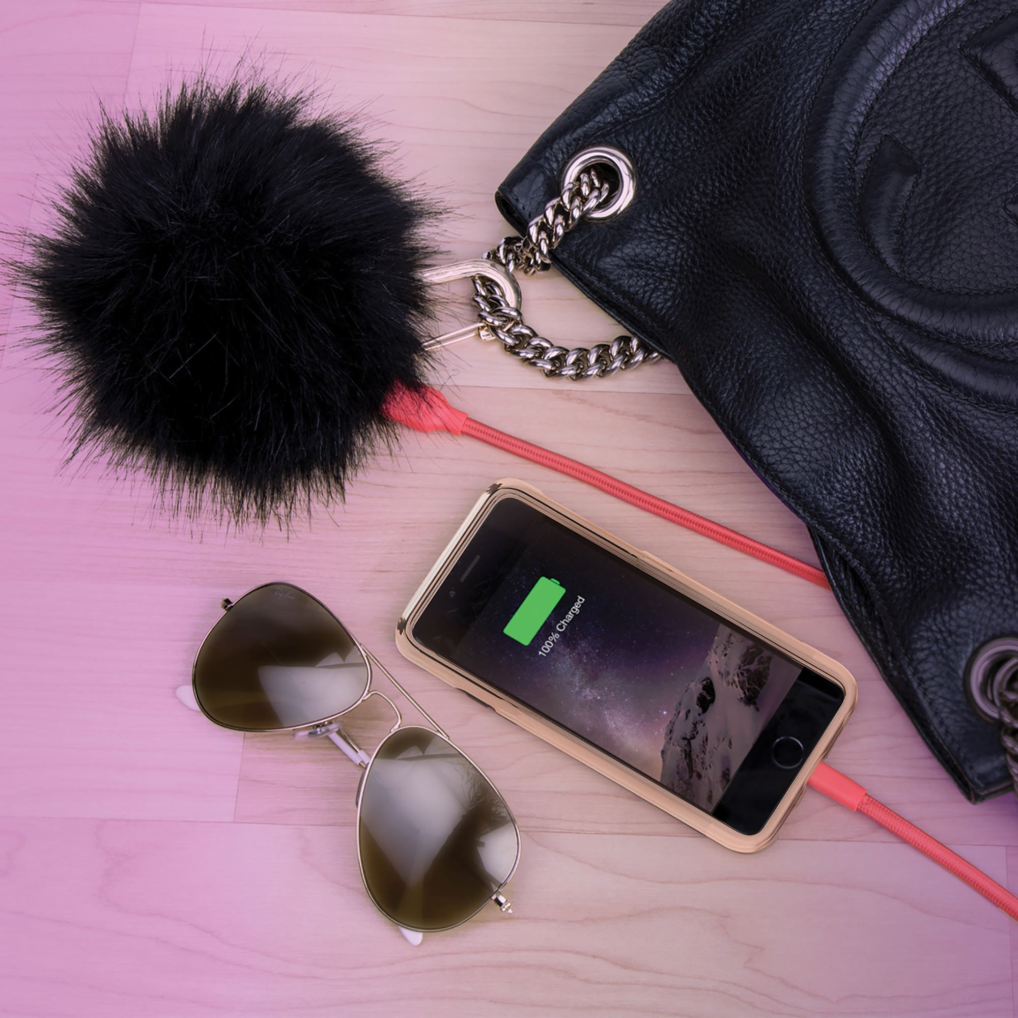 power poof pom pom power bank purse charm