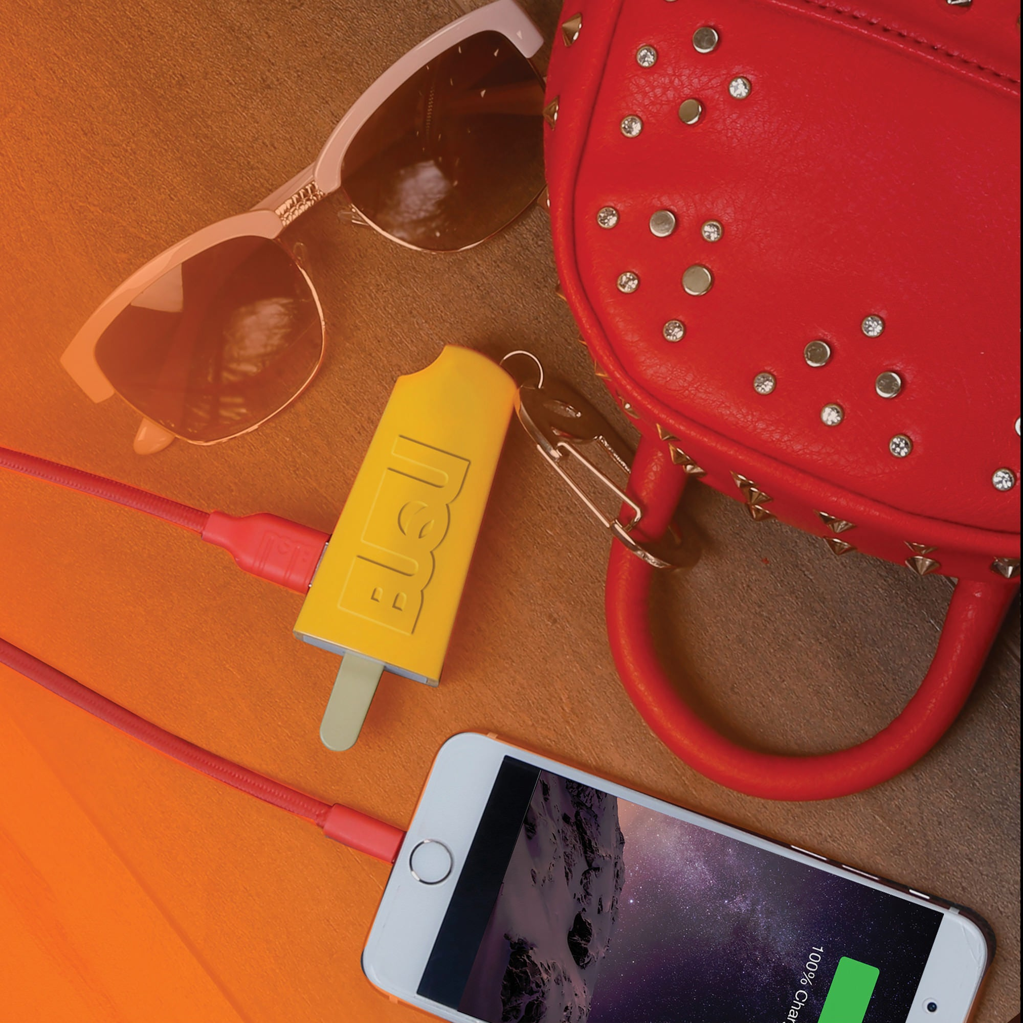 popsicle orange power bank phone charger buqu