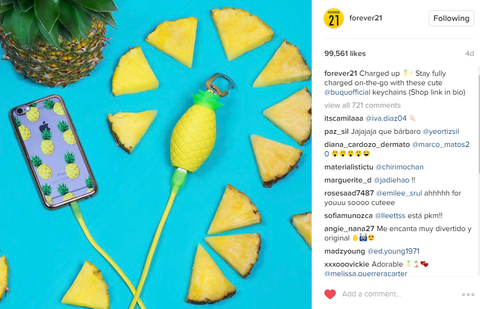 Forever 21 Instagram photo of pineapple phone charger