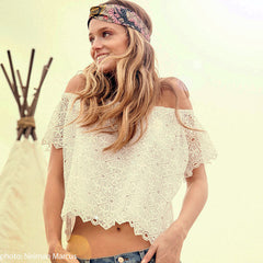 off the shoulder top for festival outfit