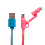 BUQU Cordz Duo 4 foot Micro USB and Lightning Cable 2-in-1 Ombre Pink and Blue Bundle Packs