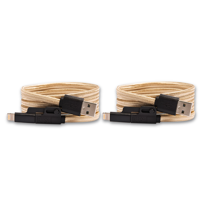 BUQU Cordz Duo 4 foot Micro USB and Lightning Cable 2-in-1 Gold Bundle Packs