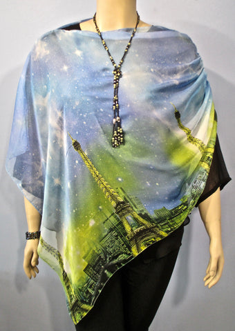 Sterling Styles Wearable Art Paris Poncho in Blue - SoCal Queen