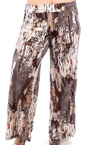 Yummy Plus Silky Stretch Print Palazzo Pant (*Perfect pant for TALL) - SoCal Queen