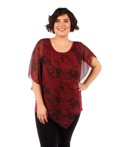 Yummy Plus Burgundy Marbled Chiffon Top - SoCal Queen