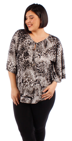 Yummy Plus Tie Front Bell Sleeve Top - SoCal Queen