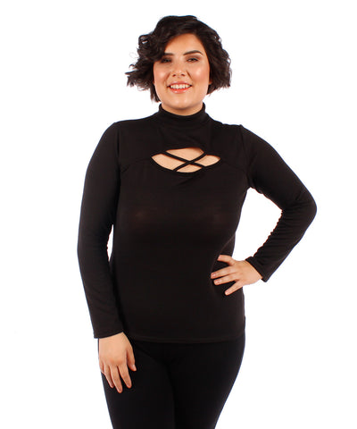 Yummy Plus Peek-a-boo Mock Turtleneck Top - SoCal Queen