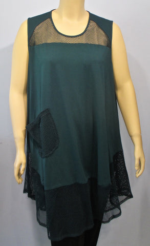Transparente Sleeveless Chasuble Tunic in Deep Teal