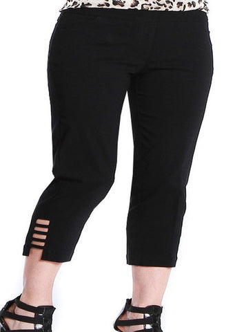 Slim Sation Black Pull-on Ladder Style Capri Pant - SoCal Queen