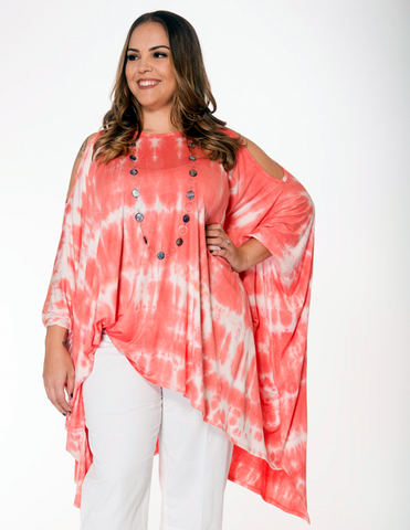 Shawl Dawls Presto-chango Tunic in Coral Tie Dye - SoCal Queen