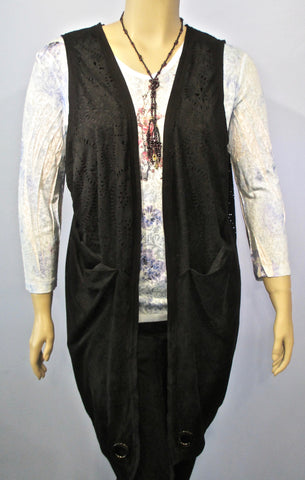 Tara Vao Samaya Long Vest in Black - SoCal Queen