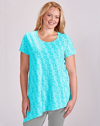 Fresh Produce Aqua Fans Asymmetrical Top - SoCal Queen