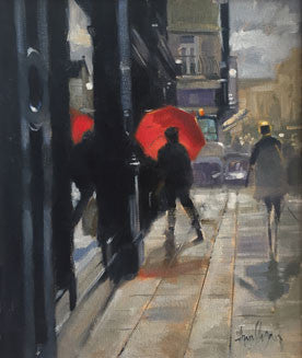 oil painting, Grafton street, red umbrella,rain,art, artist, Irish art,