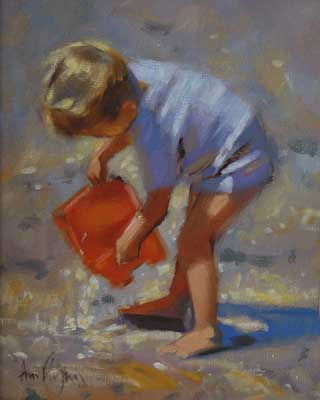 'Boy with bucket' - Ann Flynn Art