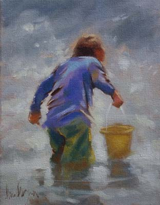 'Boy with yellow bucket' - Ann Flynn Art