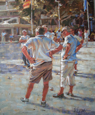 'A game of Boules, Cannes' - Ann Flynn Art