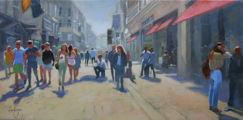 Walking down Grafton Street - Ann Flynn Art