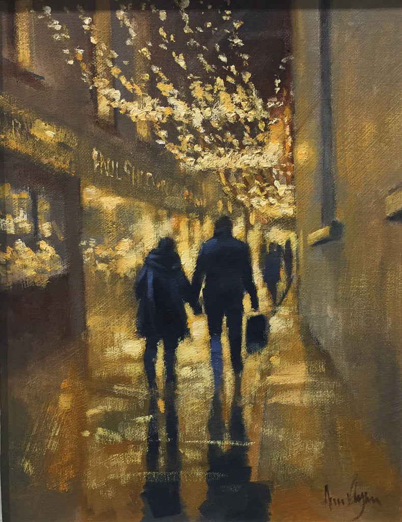 ' Night night shopping, Johnson's court' - Ann Flynn Art