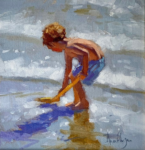 Young boy playing - Ann Flynn Art