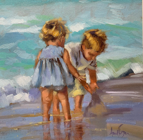 Brother and sister playing - Ann Flynn Art