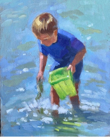 Boy with green bucket