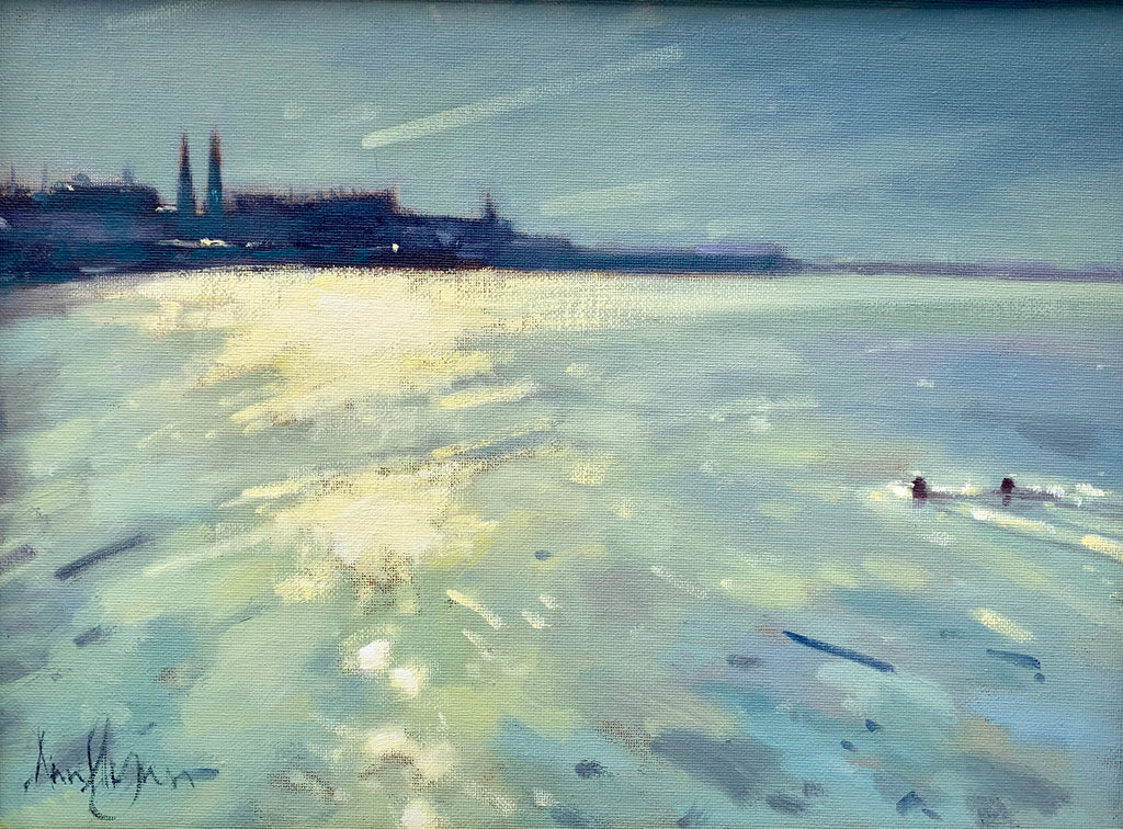 Evening swimmers, Scotsman's Bay, Dunlaoghaire - Ann Flynn Art