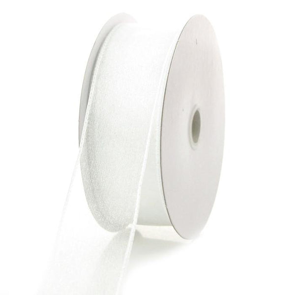 12-Pack, Sheer Chiffon Ribbon Wired Edge, 1-1/2-inch, 25-yard, White