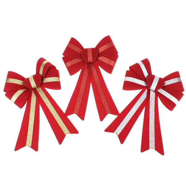 12 Pack, 5 Loop Flocked Glitter Bows, 13-Inch, 3-Piece