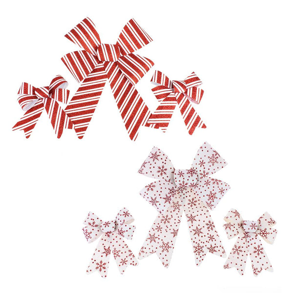 12 Pack, Candy Striped & Glitter Snowflake Bows, Red/White, 6-Piece