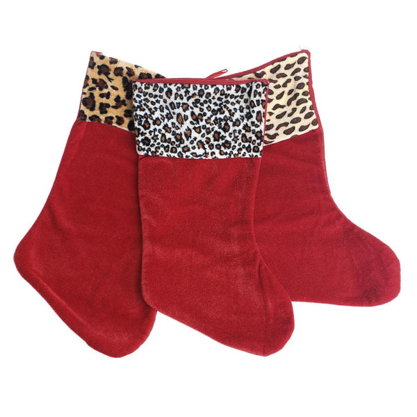 12 Pack, Christmas Safari Animal Printed Velour Stockings, 15-Inch, 3-Piece