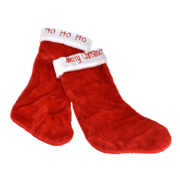 12 Pack, Embroidered Plush Christmas Stockings, Red, 17-Inch, 2-Piece