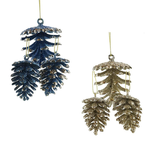 Glitter Frosted Pinecone Christmas Ornaments, Blue, Assorted Sizes, 14-Piece