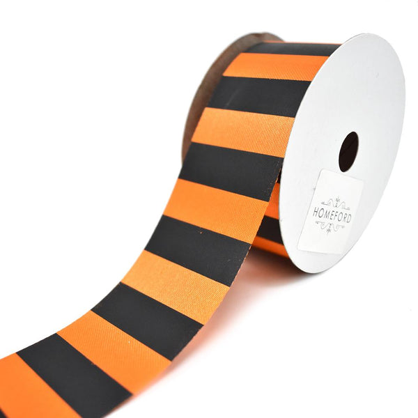 12 Pack, Fall Cabana Stripe Polyester Ribbon, Black/Orange, 1-3/8-Inch, 25-Yard