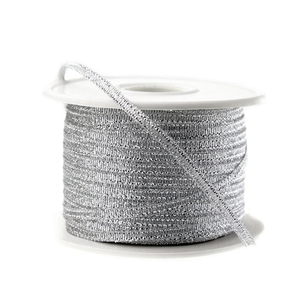 Metallic Taffeta Christmas Ribbon, 1/8-inch, 100-yard, Silver