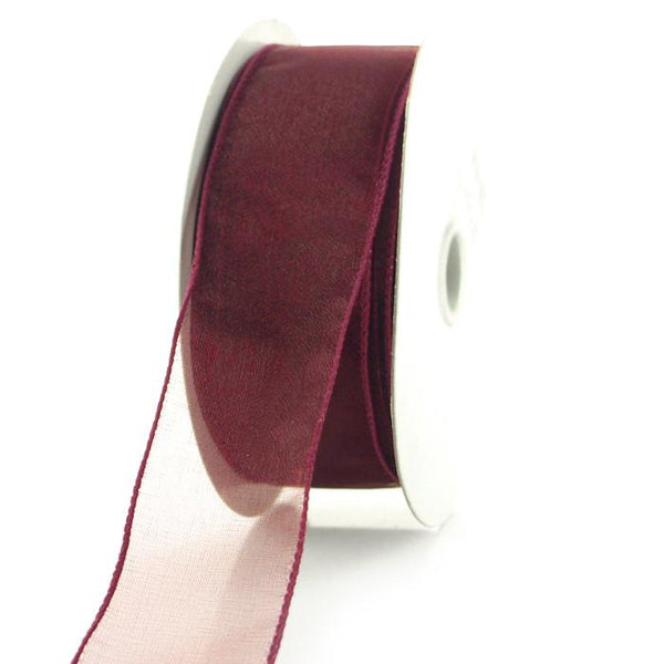 Sheer Chiffon Ribbon Wired Edge, 1-1/2-inch, 25-yard, Burgundy