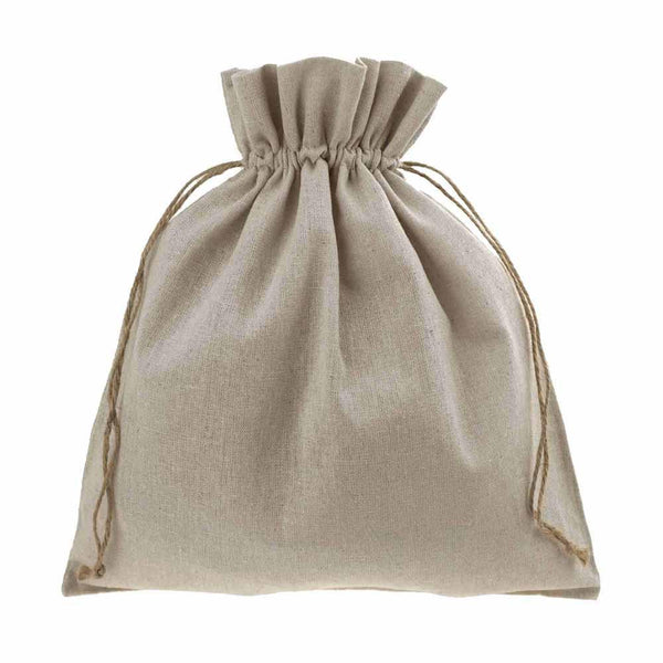 Natural Linen Favor Bags with Jute Drawstring, 10-Inch x 12-Inch, 12-Piece