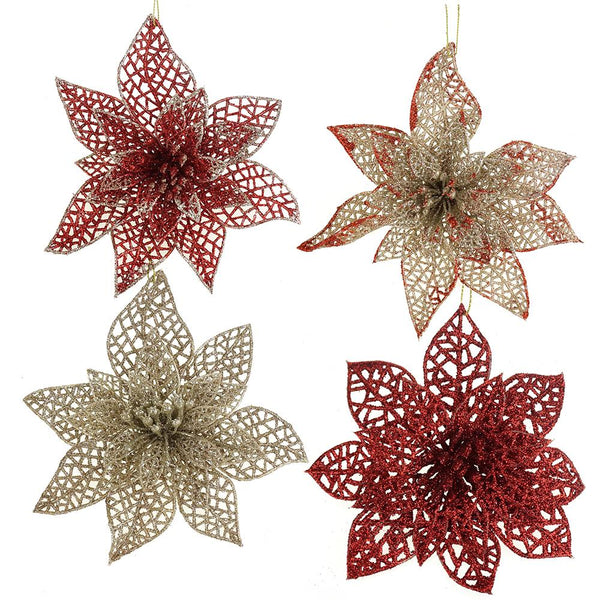 Christmas Glitter Floral Ornaments, Red/Champagne, 8-Piece