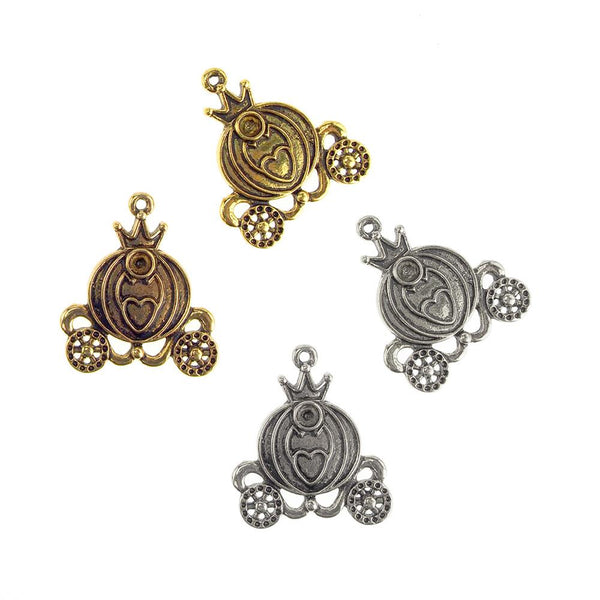 12-Pack, Antique Style Metal Princess Carriage Charms, 1-1/2-Inch, 10-Piece