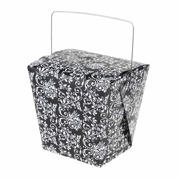 Damask Take Out Boxes with Wire Handle, 4-Inch, 12-Piece, Black/White