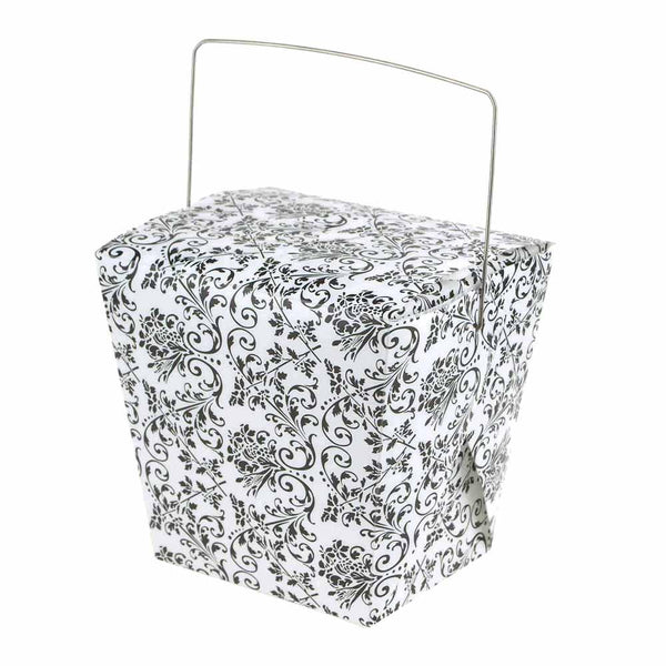 Damask Take Out Boxes with Wire Handle, 4-Inch, 12-Piece, White/Black