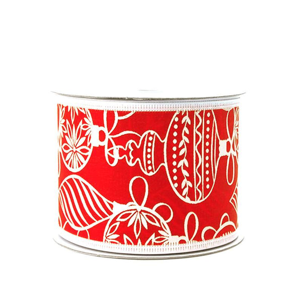 Ornaments Red Satin Christmas Ribbon, 2-1/2-inch, 10-yard