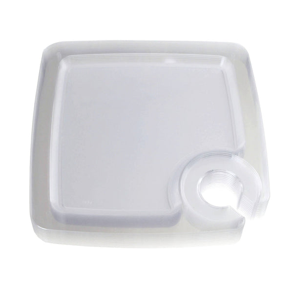 Clear Plastic Plates with Cup Holder, 9-Inch,12-Piece