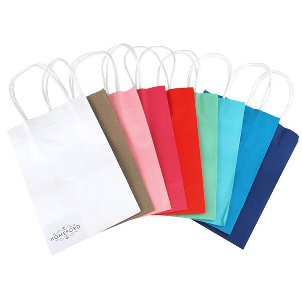 12-Pack, Solid Color Paper Treat Bags, White Handle, 8-1/4-Inch x 5-1/4-Inch, 10-Piece