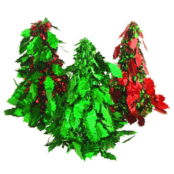 Holy Leaf Tinsel Tree Cone Christmas Tabletop, Green/Red, 10-Inch, 3-Piece